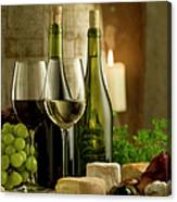 White And Red Wine In A French Style Canvas Print