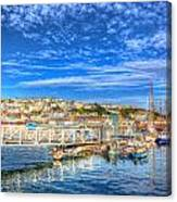 White Jetty Walkway Leading To Boats And Yachts In A Marina With Blue Sky And Reflections Canvas Print