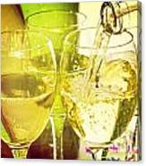 White Wine Pouring Into Glasses Canvas Print