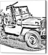 Willys World War Two Army Jeep Illustration Canvas Print