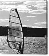 Wind Surfer Bw Canvas Print