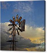 Windmill And Clouds Canvas Print