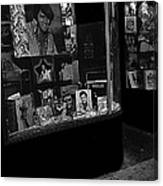 Window Display Night Of Elvis Presley's Death Recordland Portland Maine 1977 Canvas Print