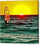 Windsurfer At Sunset On Lake Michigan From Empire-michigan  Canvas Print