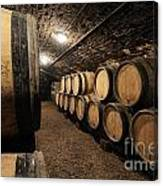 Wine Barrels In A Cellar. Cote D'or. Burgundy. France. Europe Canvas Print