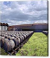 Winery Wine Barrels Outside Clouds Panorama Canvas Print