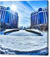 Winter Street Scenes Around Piedmont Town Centre Charlotte Nc Canvas Print