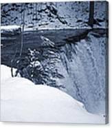 Winter Waterfall Snow Canvas Print