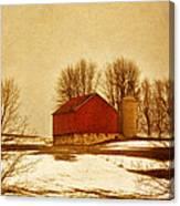 Wisconsin Barn In Winter Canvas Print