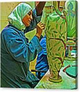 Woman Artisan At Mosaic School In Madaba In Jordan  Canvas Print