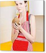 Woman Drinking Coconut Milk In Kitchen Canvas Print