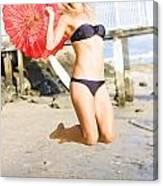 Woman In Bikini Jumping Canvas Print