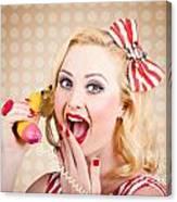 Woman On Banana Telephone. Health Eating News Canvas Print