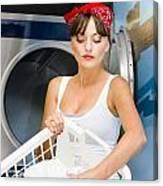 Woman Washing Clothes Canvas Print