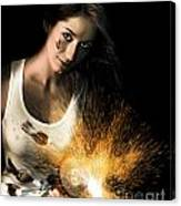Woman With Angle Grinder Spraying Sparks Canvas Print