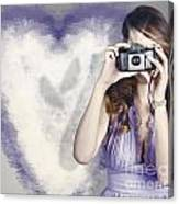 Woman With Camera. Love In A Still Frame Capture Canvas Print