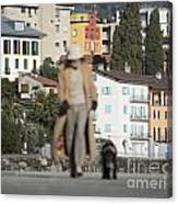 Woman With Her Dog Canvas Print
