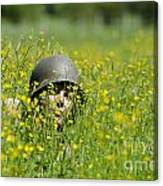 Woman With Military Helmet Canvas Print
