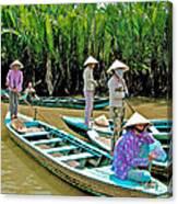 Women Waiting For Passengers On Mekong River Canal-vietnam Canvas Print