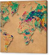World Map Watercolor Painting  Canvas Print