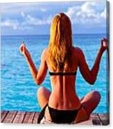 Yoga Exercise On Seashore Canvas Print