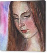 Young Woman Watercolor Portrait Painting Canvas Print