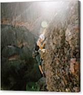 A Man Rock Climbing In Pinnacles Canvas Print