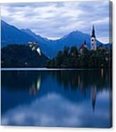 Dusk Over Lake Bled Canvas Print