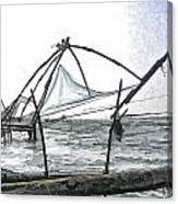 Fishing Nets On The Sea Coast In Alleppey Canvas Print