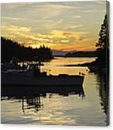 Port Clyde Maine Fishing Boats At Sunset Canvas Print