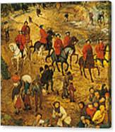 Ascent To Calvary, By Pieter Bruegel Canvas Print
