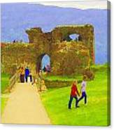 Tourists And The Path At Ruins Of The Urquhart Castle Canvas Print