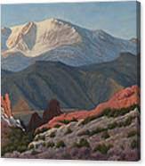 120402-1836 Pikes Peak From The Garden Of The Gods Canvas Print