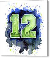 12th Man Seahawks Art Seattle Go Hawks Canvas Print