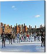 Ice Skating At Hampton Court Palace Ice Rink England Uk Canvas Print