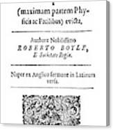 Robert Boyle (1627-1691) Canvas Print
