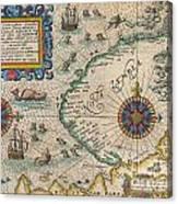 1601 De Bry And De Veer Map Of Nova Zembla And The Northeast Passage Canvas Print