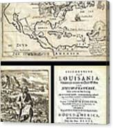 1688 Hennepin First Book And Map Of North America First Printed Map To Name Louisiana Geographicus N Canvas Print