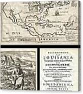 1688 Hennepin First Book And Map Of North America Canvas Print