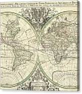1691 Sanson Map Of The World On Hemisphere Projection Canvas Print