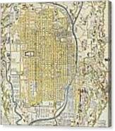 1696 Genroku 9 Early Edo Japanese Map Of Kyoto Japan Canvas Print