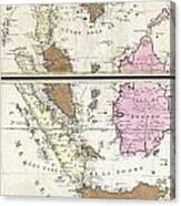 1710 Ottens Map Of Southeast Asia Singapore Thailand Siam Malaysia Sumatra Borneo Canvas Print