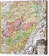 1716 Homann Map Of Burgundy France Geographicus Burgundiae Homan 1716 Canvas Print