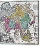 1730 C Homann Map Of Asia Geographicus Asiae Homann 1730 Canvas Print