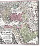 1730 Seutter Map Of Turkey Ottoman Empire Persia And Arabia Canvas Print