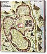 1730 Street Map Or Plan Of Jerusalem Geographicus Jerusalem Uk 1730 Canvas Print