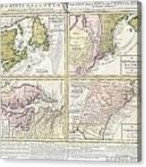 1737 Homann Heirs Map Of New England Georgia And Carolina And Virginia And Maryland Canvas Print