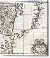 1750 Bellin Map Of The Kuril Islands Canvas Print