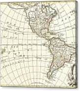 1762 Janvier Map Of North America And South America  Canvas Print