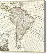 1762 Janvier Map Of South America  Canvas Print